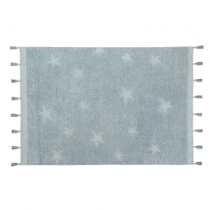 Hippy stars Washable Rug light blue