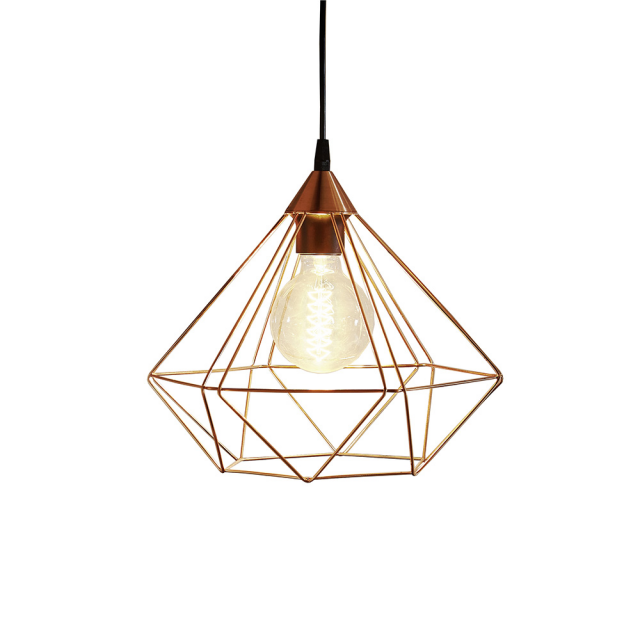 Diamond Pendant Lamp - copper