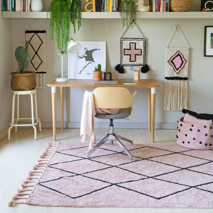 pink Berber Washable rug