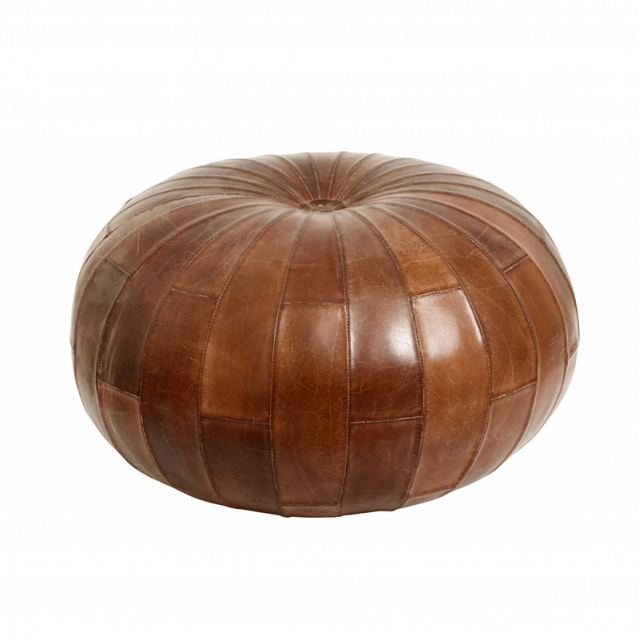 Round leather pouf