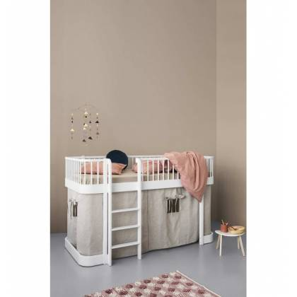 wood White Loft mini bed