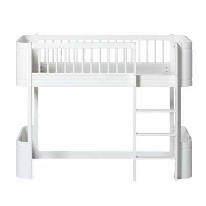 wood white Low Loft mini bed