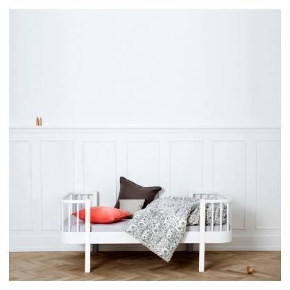 white junior wood bed
