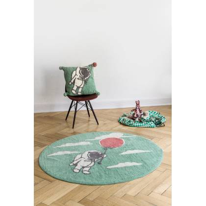 Round Astronaut Rug with Balloon