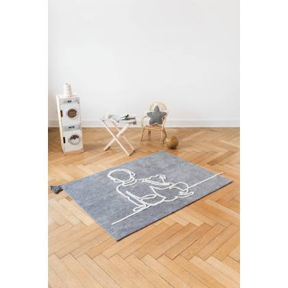 Boy with dog rug