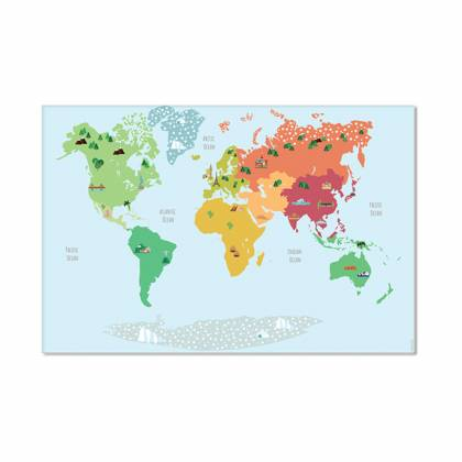 Tapis vinyle carte du monde colors