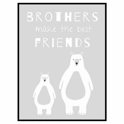 Bear Brothers Light Grey print