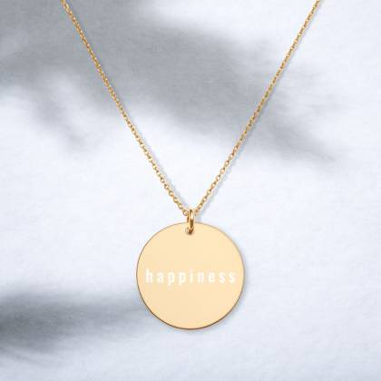 Happiness engraved necklace