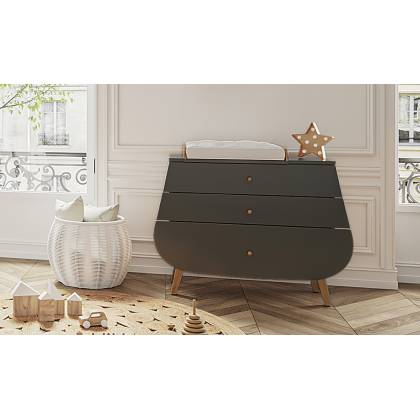 Trapeze chest of drawers + gray changing table
