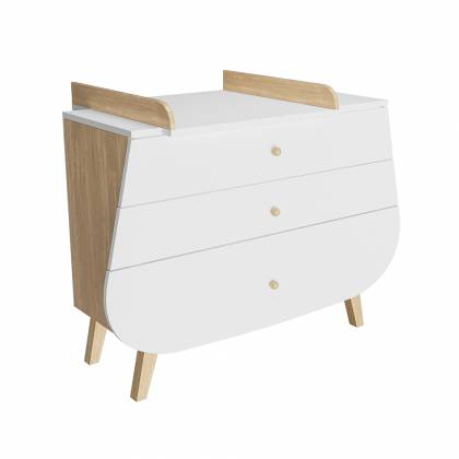 Trapeze chest of drawers + white and wood changing table