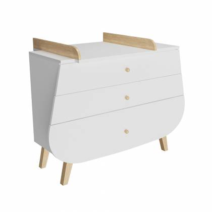 Commode trapèze + table à langer blanc