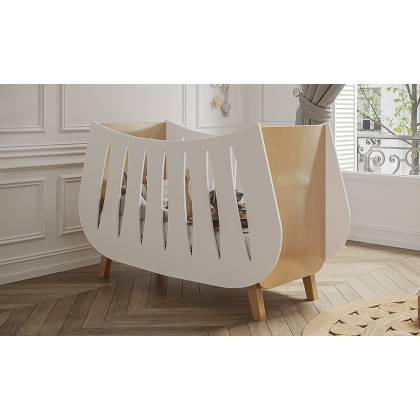 Trapeze Crib white and wood