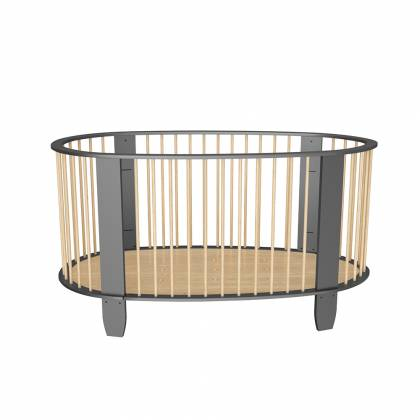 Cocoon crib charcoal gray + wood