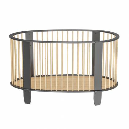 Oeuf evolutive crib charcoal gray + wood