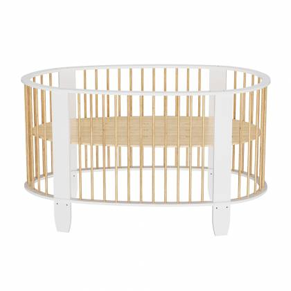 Oeuf evolutive cot white + wood