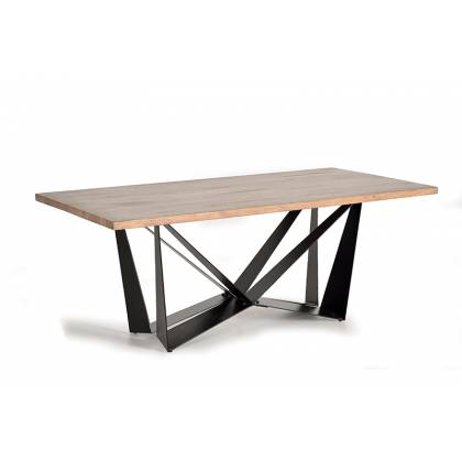 Wooden dining table with iron base