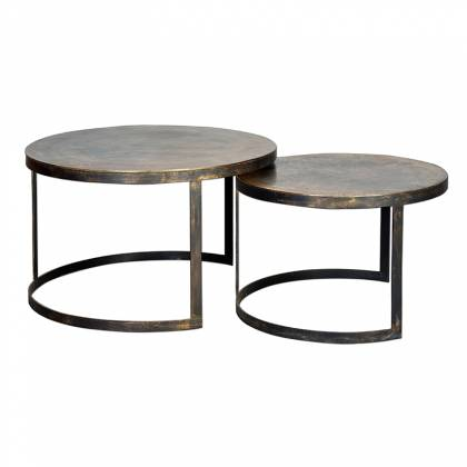 Set of round tables with bronze top