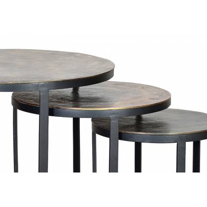 Set of 3 Tables with bronze top