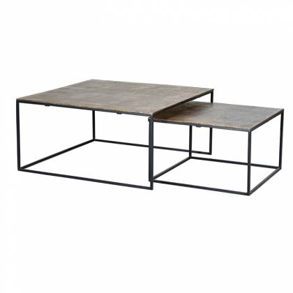 Set of 2 Tables with bronze top