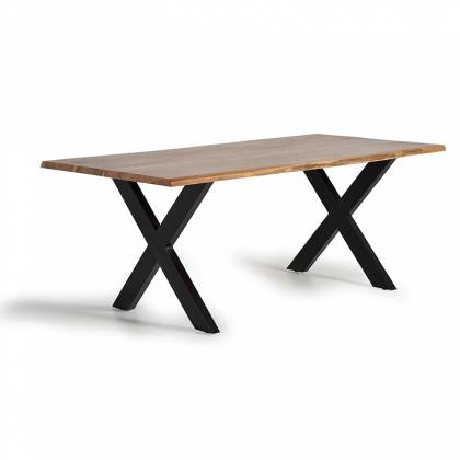 Wooden dining table with crossed iron base