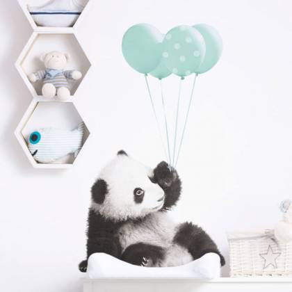 Panda With Balloons Wallsticker
