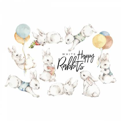 White Happy Rabbits Wallsticker