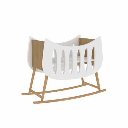TRAPEZE Rocking cradle white and wood