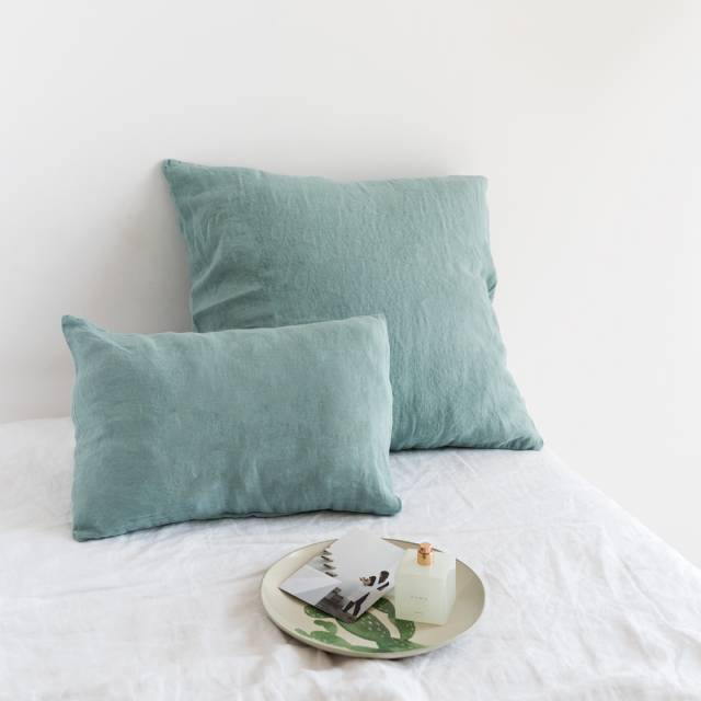 green water linen cushion