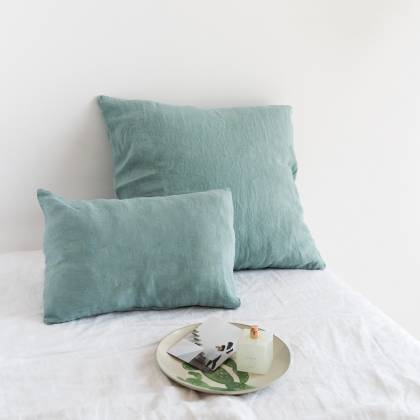 green water linen cushion 50x50