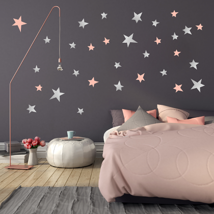 Silver Stars Wall Stickers